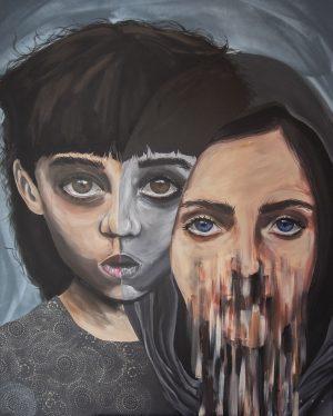 Spraycan un dAcryl auf Leinwand zwei Mädchen mit tiefsinnigen Augen