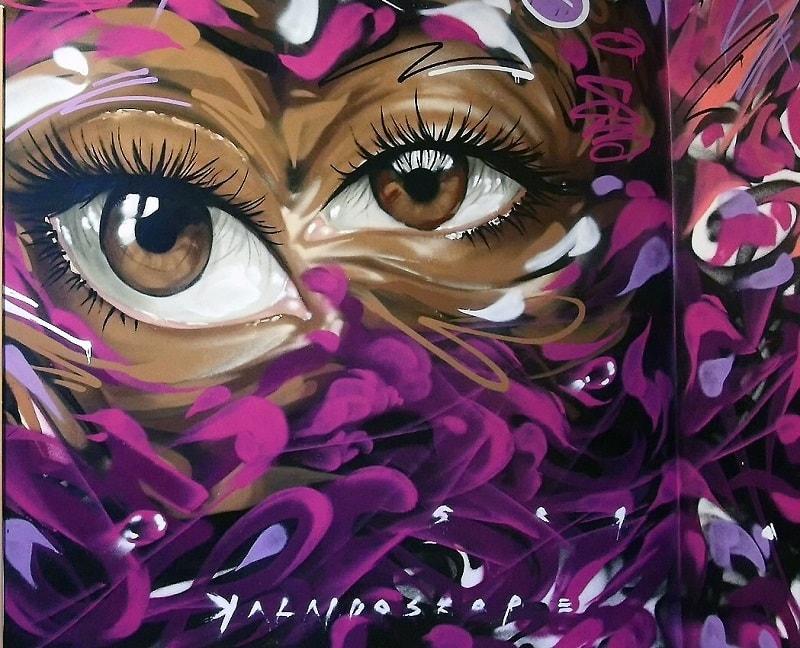 Graffiti Privat Auftrag für das Wohnzimmer zwei Augen - ArtMano -min