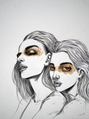 Moderne Kunst und Zeichnung von Sero Art bei ArtMano - schwarz weiß stellt zwei Frauen da