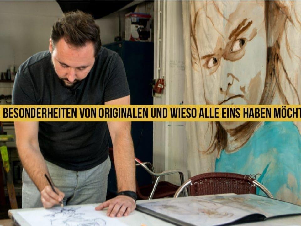 Künstler Edwin Bormann fertigt ein Original an